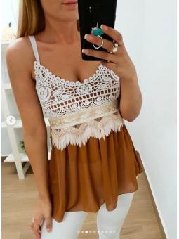 Blusa crop top marrón