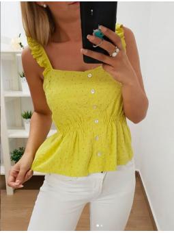 Blusa amarilla calada