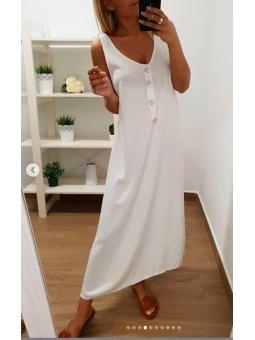 Vestido botones nacar blanco