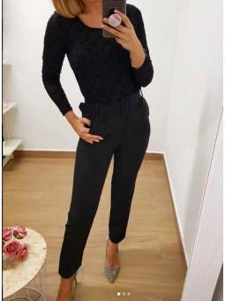 Pantalones negros hebilla