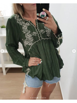 camisa bordada 2540 verde...