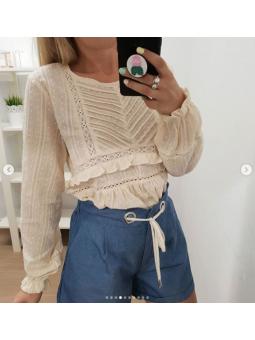 Blusa beige croche L583