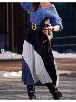 Falda plisada tricolor