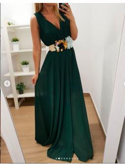 Vestido largo gasa verde...