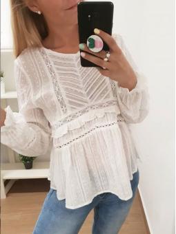 Blusa blanca croche L583