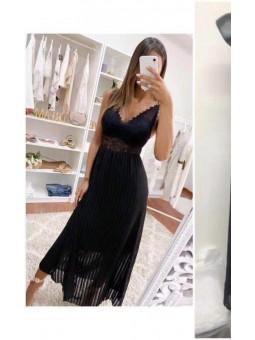 Vestido negro plisado Elisa