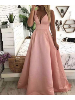 Vestido fiesta rosa raso