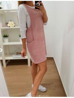 Conjunto vestido rosa pana...