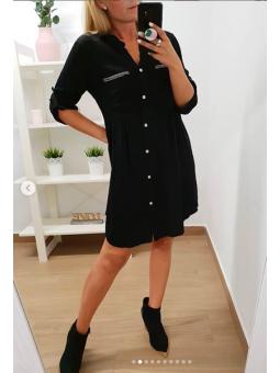 Vestido negro bolsillos ribete