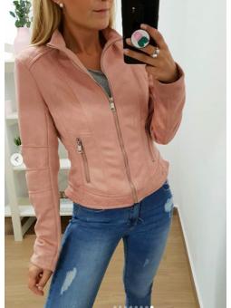 Cazadora antelina rosa