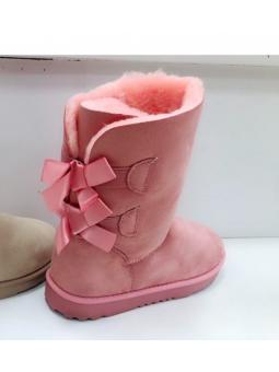 Botas lazos rosa pelito