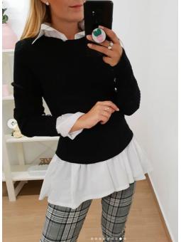 Suéter negro canalé botones...