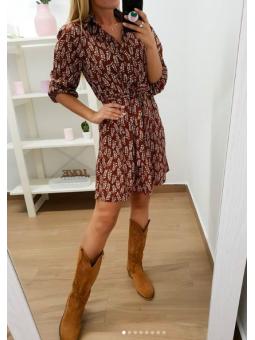 Vestido corto hojas marrón...