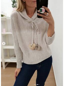 Suéter lana beige capucha...