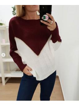 Suéter bicolor pico...