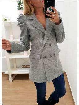 Abrigo gris mangas abullonadas