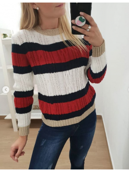 Suéter franjas marino/rojo...