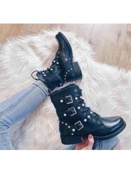 Botas negras perlitas (Z1106)
