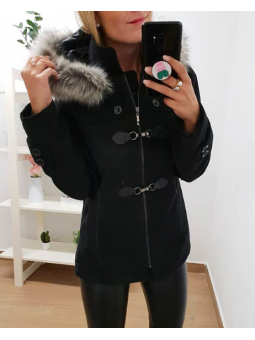 Abrigo paño negro hebillas