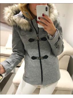 Abrigo paño gris hebillas