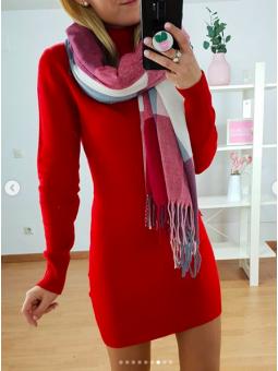 Vestido rojo lana cuello...