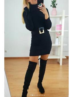 Vestido negro lana cuello...