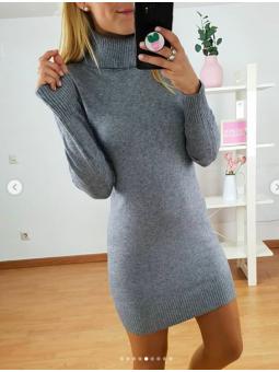 Vestido gris lana cuello...