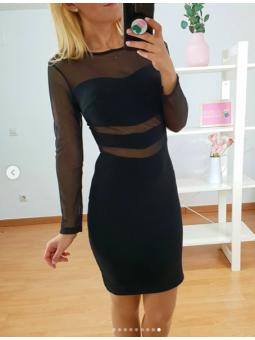 Vestido negro tul y brilli...