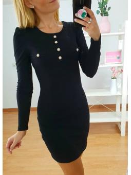 Vestido perlitas negro (52026)