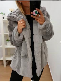 Abrigo pelito gris REF. B56