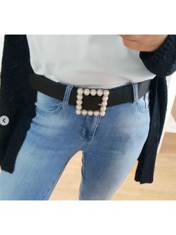 cinturón Negro cuadrado perlas