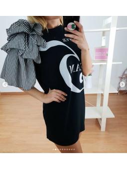 Vestido negro manga Vichy 2776