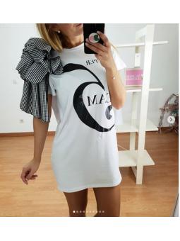 Vestido blanco manga Vichy...