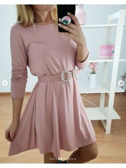 Vestido liso basico rosa 3569