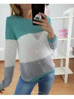 Suéter tricolor tricot...