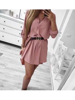 Vestido rosa pliegue escote...