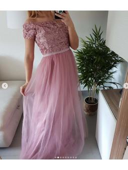 Vestido largo fiesta rosa...
