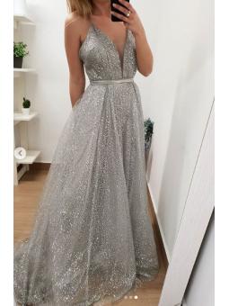 Vestido fiesta brillo plata