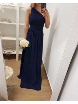 Vestido asimétrico fiesta azul marino
