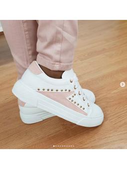 Zapatillas tachuelitas rosa...