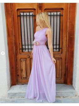 Vestido Grecia lila asimétrico