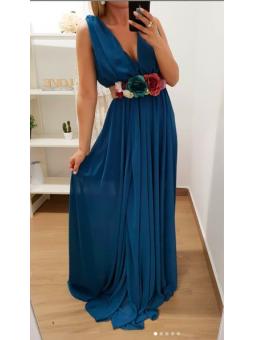 Vestido gasa Azul petroleo...