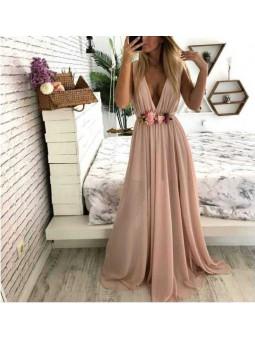 Vestido gasa rosa 01 largo...