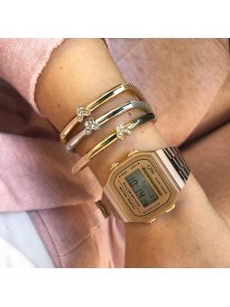 Conjunto reloj digital oro...