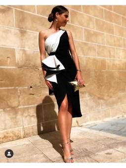 Vestido Alicia blanco y negro