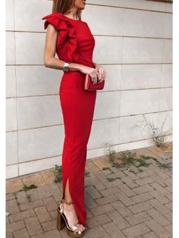 Vestido largo rojo volante...