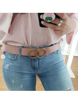 Cinturon rosa doble hebilla...