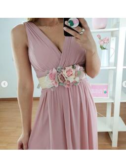 Cinturón rafia flores rosa...