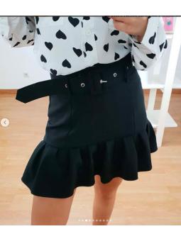 Falda Negra + cinturón...