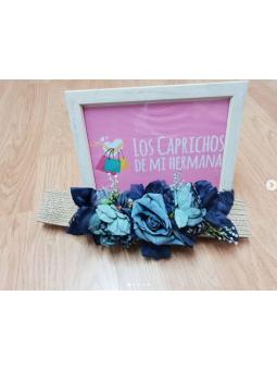 Cinturón goma flores azul...